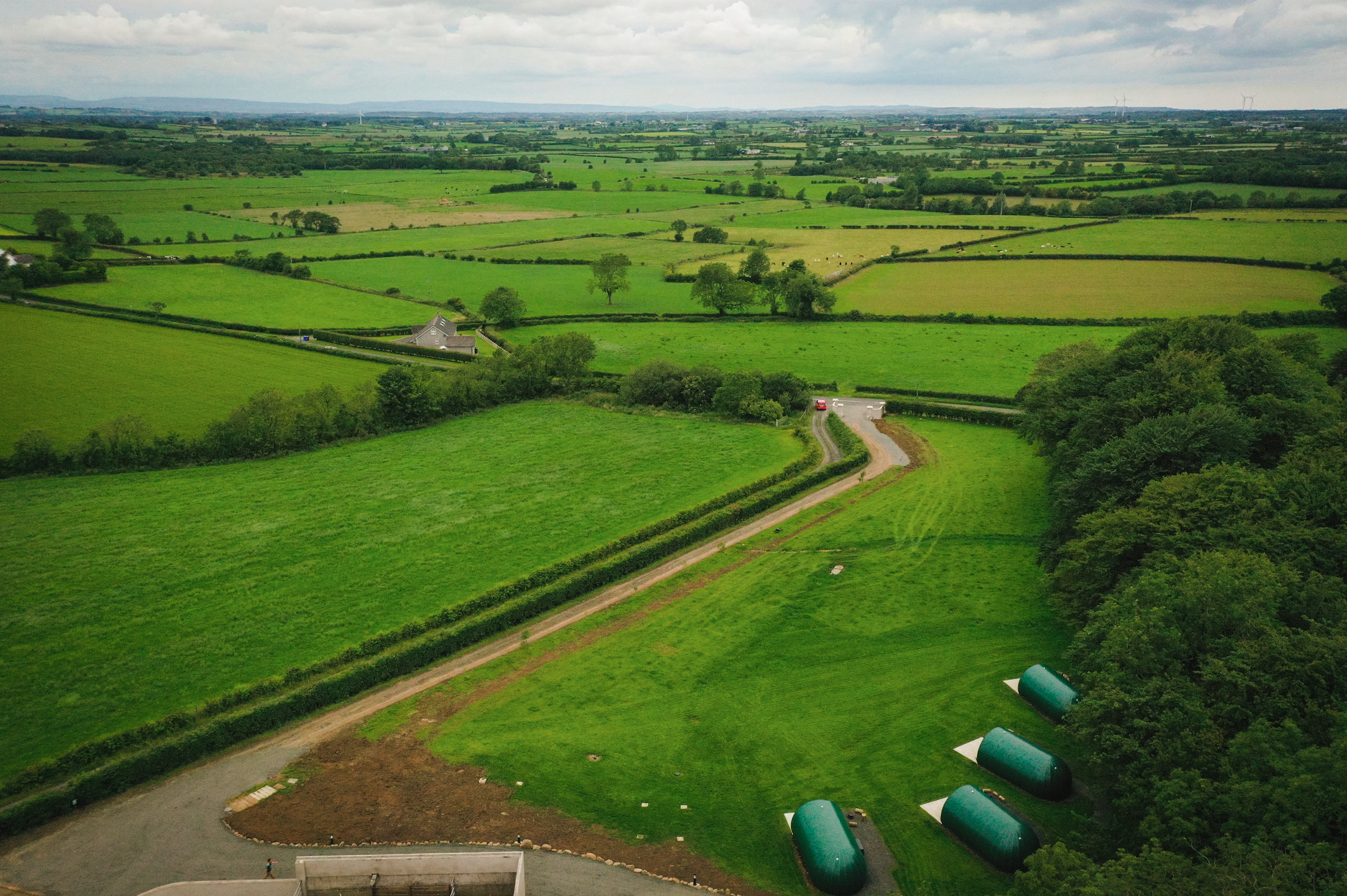 Causeway county glamping pods aerial view