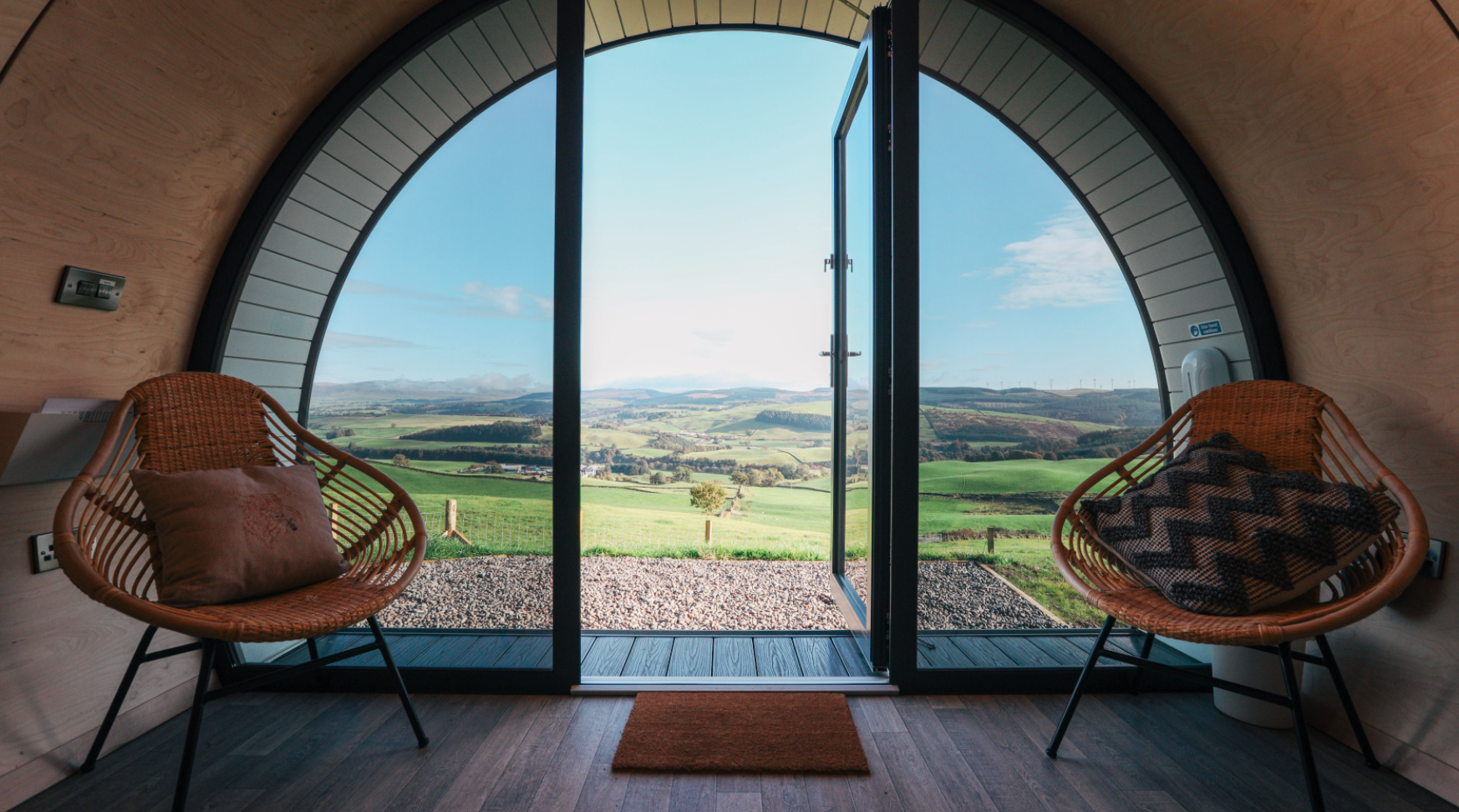 Dumfries and Galloway glamping pods view