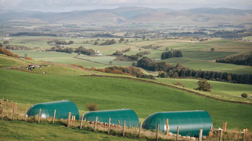 Glamping pods in Scotland aerial photo